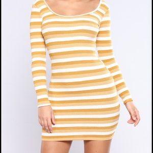 Fashion Nova Gold Striped Long Sleeve Knit Dress